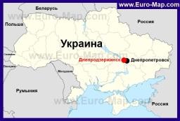 Днепродзержинск на карте Украины