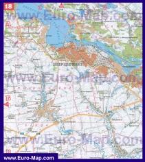 Карта левого и правого берега Днепродзержинска с окрестностями