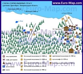 Карта горнолыжного курорта Драгобрат с трассами