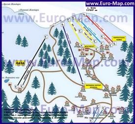 Карта трасс Драгобрата с отелями