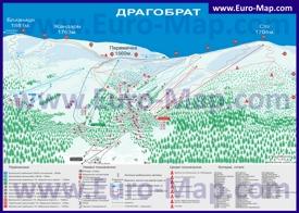 Подробная туристическая карта курорта Драгобрат с отелями