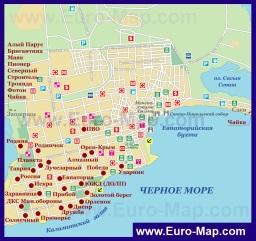 Карта пансионатов Евпатории