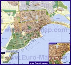 Подробная карта города Евпатория с санаториями и пляжами
