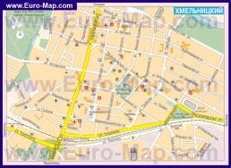 Туристическая карта центра Хмельницкого