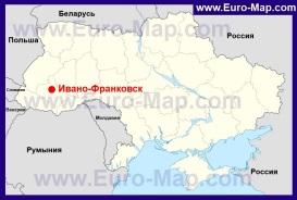 Ивано-Франковск на карте Украины