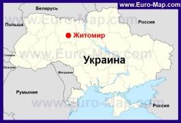Житомир на карте Украины