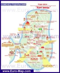 Туристическая карта центра Каменец-Подольского