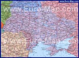 Карта Украины на русском языке с городами