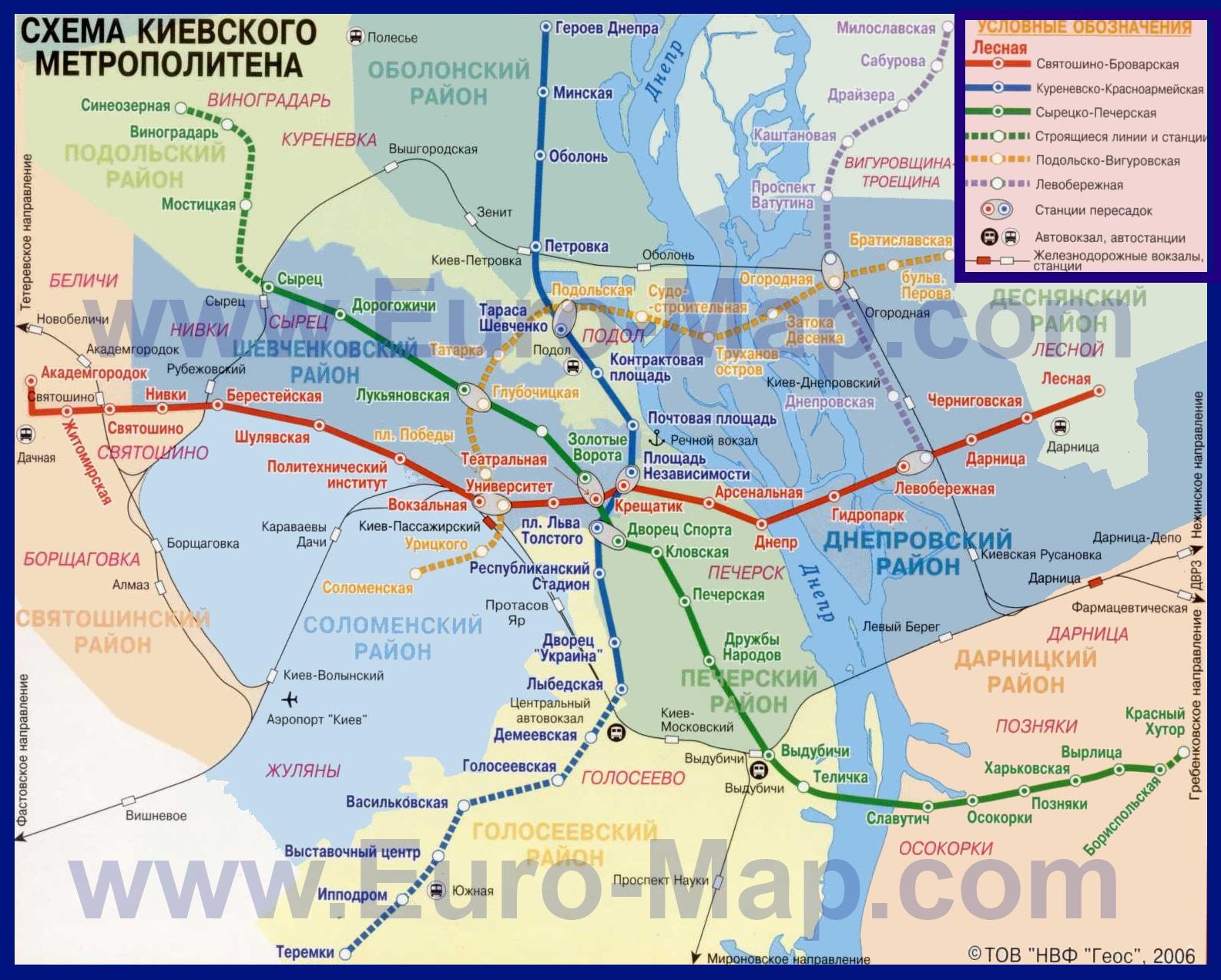 Карта киева с улицами и метро