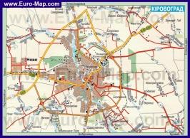 Карта дорог Кировограда с окрестностями