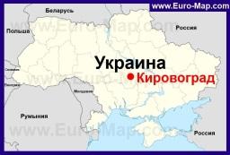 Кировоград на карте Украины