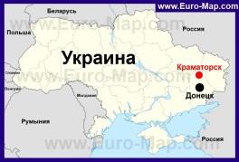 Краматорск на карте Украины