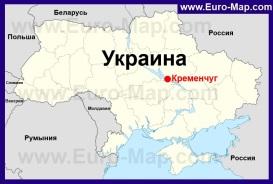 Кременчуг на карте Украины