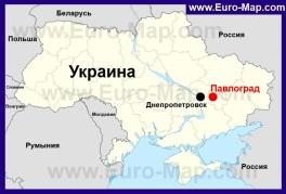 Павлоград на карте Украины