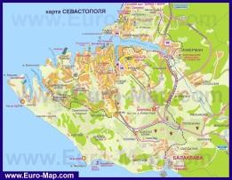 Карта бухты Севастополя с окрестностями