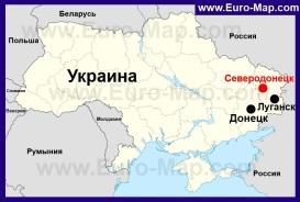 Северодонецк на карте Украины