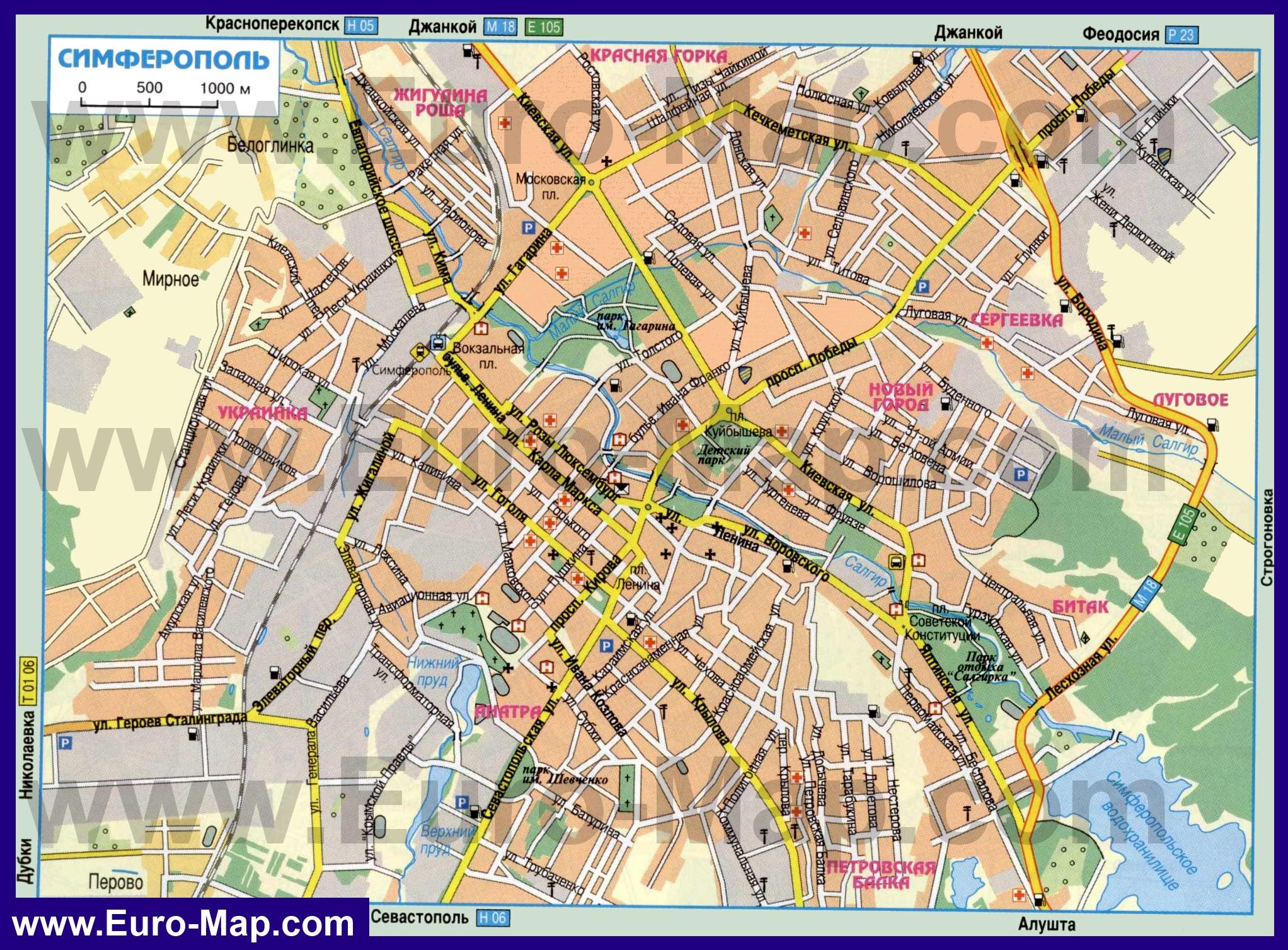 Карта Кирова с улицами, домами, номерами домов, отелями ...