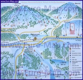 Подробная карта горнолыжного курорта Славское с трассами и отелями