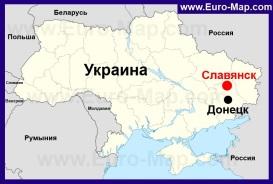 Славянск на карте Украины