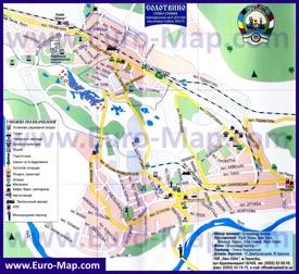 Подробная карта Солотвино с отелями
