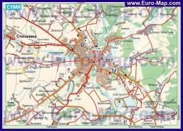 Карта Сум с окрестностями