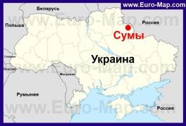 Сумы на карте Украины