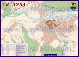 Подробная карта города Свалява с отелями и улицами