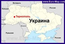 Тернополь на карте Украины