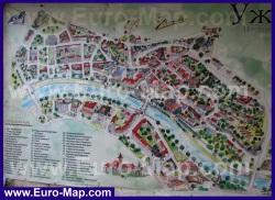 Туристическая карта Ужгорода с достопримечательностями