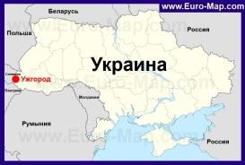 Ужгород на карте Украины