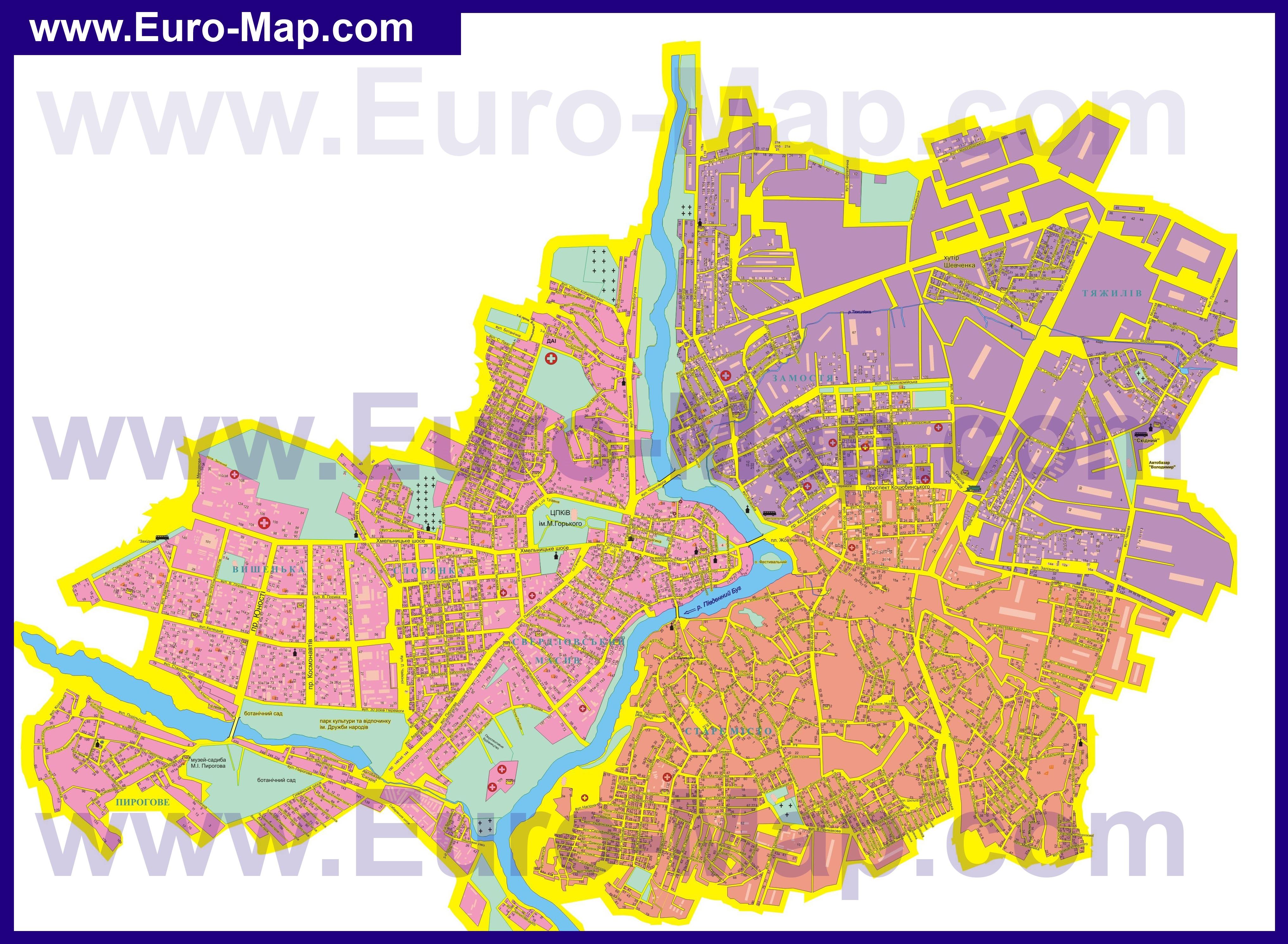 Карты Винницы | Подробная карта города Винница с улицами и ...: http://euro-map.com/karty-ukrainy/vinnica/