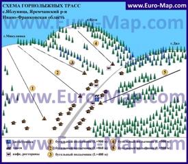 Схема горнолыжный трасс Яблуницы