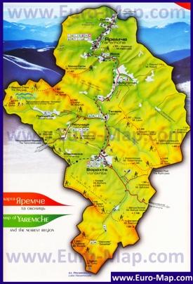 Туристическая карта Яремче с окрестностями