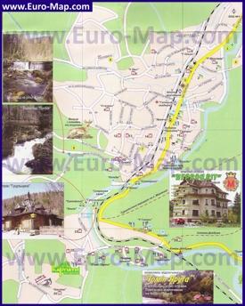 Туристическая карта Яремче с отелями