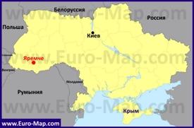 Яремче на карте Украины
