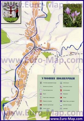 Подробная туристическая карта Ясини с отелями