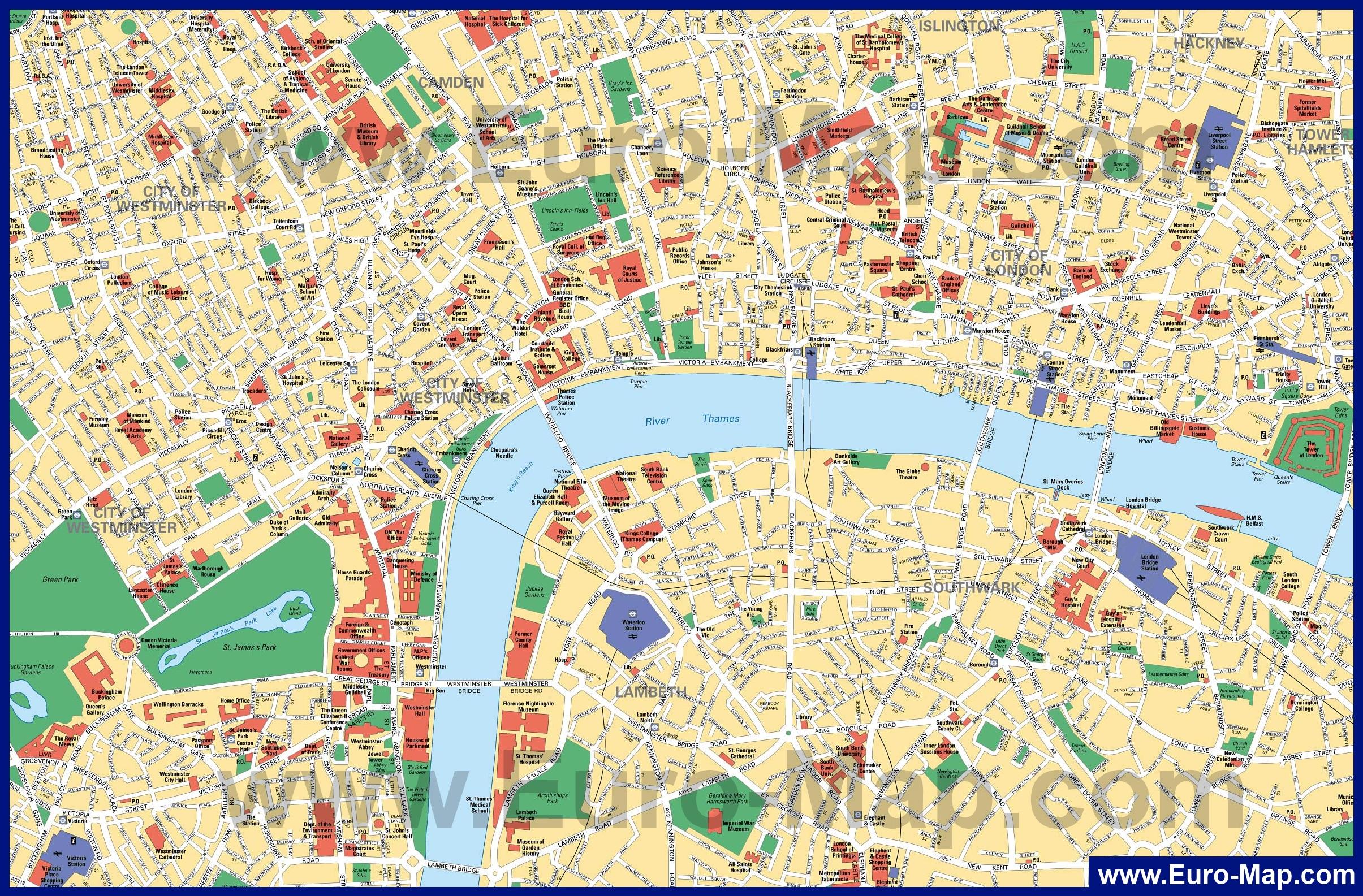 Карты Лондона | Подробная карта Лондона с улицами на ...: http://euro-map.com/karty-velikobritanii/london/