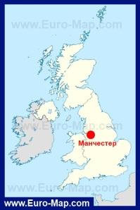 Манчестер на карте Англии