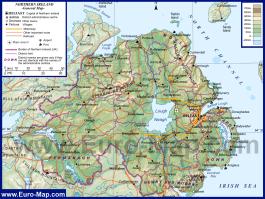 Физическая карта Северной Ирландии