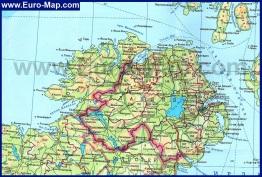 Подробная карта Северной Ирландии на русском языке