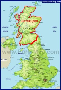 Шотландия на карте Великобритании