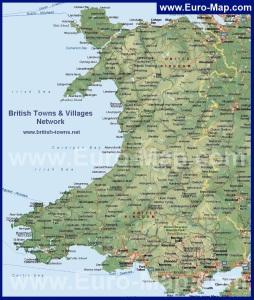 Физическая карта Уэльса с городами