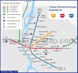 Карта (схема) метро Будапешта