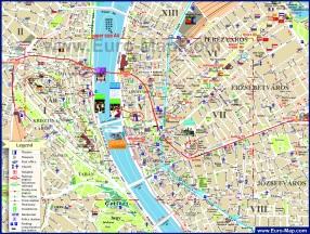 Подробная туристическая карта центра Будапешта с достопримечательностями
