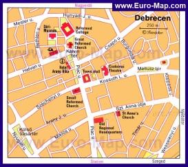 Карта центра Дебрецена с достопримечательностями