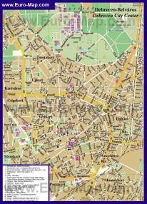 Подробная туристическая карта города Дебрецен