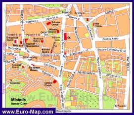 Карта Мишкольца с достопримечательностями