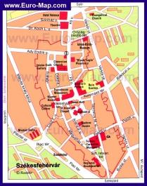 Карта Секешфехервара с достопримечательностями