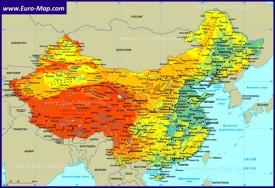 Карта Китая на русском языке с городами