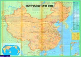 Туристическая карта Китая с достопримечательностями
